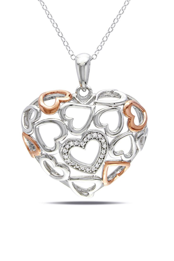 Hearts, Hearts, Hearts Diamond Open Work Heart Pendant In Silver - Beyond the Rack
