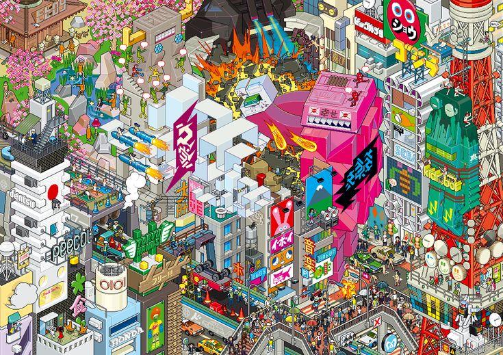 Tokyo (see more on http://www.tranchesdunet.com/des-villes-entieres-en-pixel-art/ )