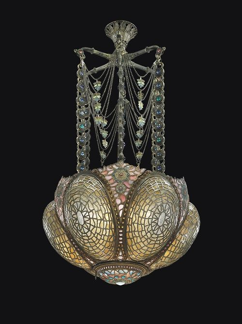 Tiffany StudiosA Rare and Early Chandelier, Circa 1895  Magnificent Tiffany....it may be corny, but this is absolutely, Breathtaking!!!! Wow the detail.