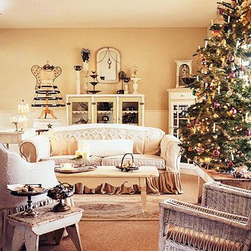 Vintage-White Christmas Decorating:   Simple holiday decorating touches bring Christmas to the quiet vintage style of this antique-white home. Oh Christmas Tree:   The rich green of this Christmas tree stands out in a sea of creamy white. The room's center of attention, the tree is decorated with heirloom glass ornaments and white candles.