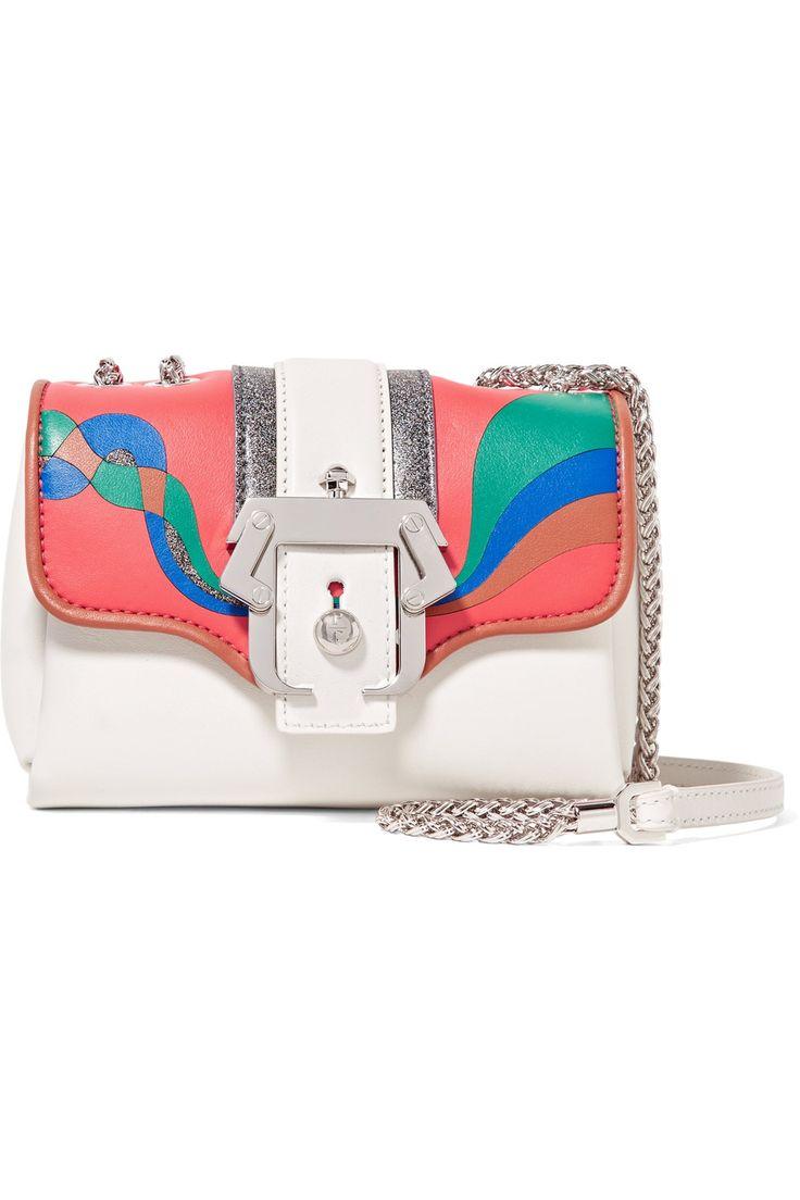 PAULA CADEMARTORI Kate Appliquéd Leather And Glittered Suede Shoulder Bag. #paulacademartori #bags #shoulder bags #glitter #suede #