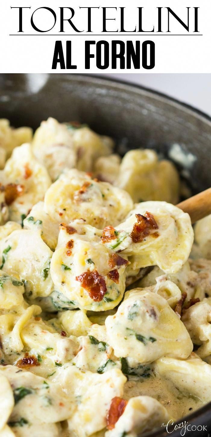 This Tortellini Al Forno recipe has cheese-filled tortellini tossed in a rich an…