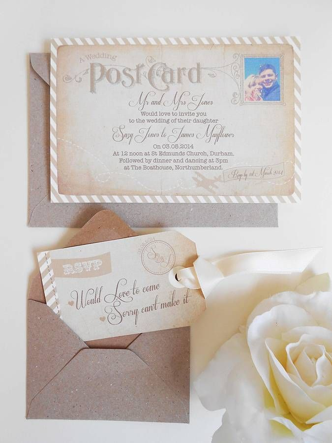 Postcard wedding invitations inspired by vintage travel