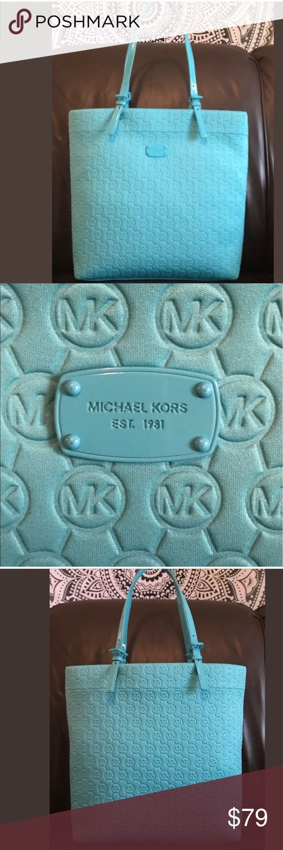 "Extra large Michael Kors Turquoise JetSet tote NWT I'm offering an awesome Michael Kors Extra Large Monogram Jet Set Tote, Travel, Shoulder Bag New with tags, retail cost 158.00.  It's in a beautiful vibrant summer Turquoise blue, Absolutely amazing.   It measures a generous 14.5"" x 14"" x 4"" with 10"" drop on adjustable patent leather handles.  The interior is lined in cream with compartments to stay organized. This Tote is very roomy, great for travel or shopping, an awesome quality Bag…"