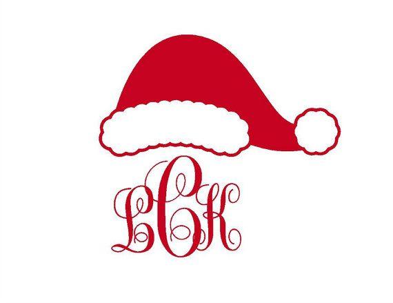 Monogram Hat Santa Christmas Iron On Transfer Personalized
