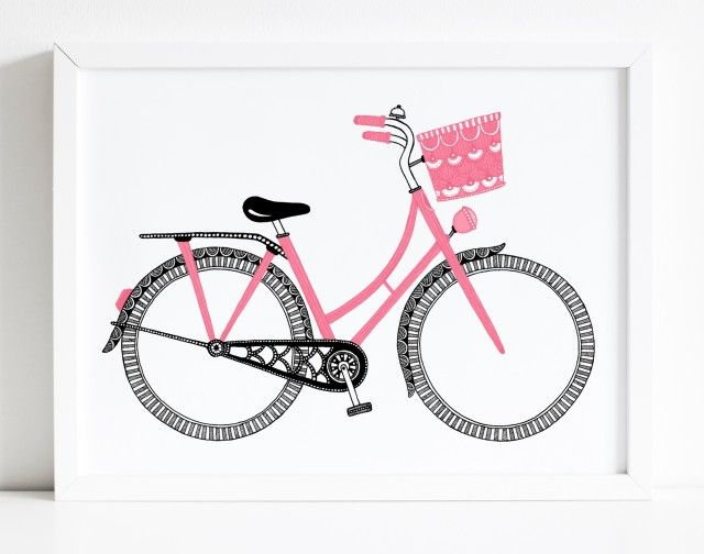 A cute pink bike poster by Tovelisa! #nordicdesigncollective #pink #bike #bicycle #illustration #tovelisa #drawing #sketch #black #pattern #poster #print #girldbike #kidsbike #happy #pastel #cykel #cykelkorg