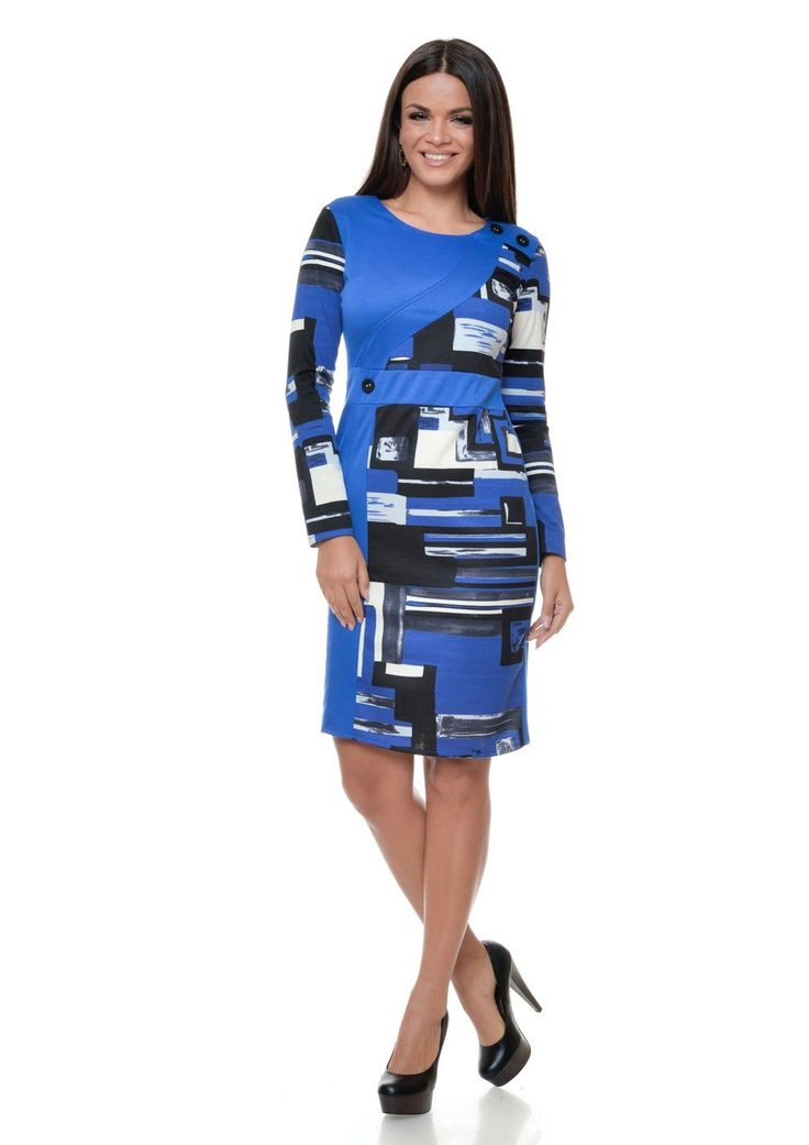 Rochie de zi albastra cu maneca lunga si imprimeu grafic R141i9601