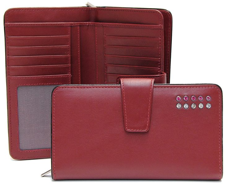 women's wallet in leather with swarovski stones | Adpel