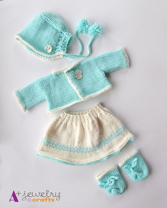 Waldorf doll clothing set, knit doll set, teal color, mint, white, green and white, turquoise.