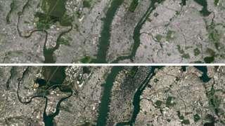 Image copyright                  Google / Landsat                  Image caption                     Nueva York vista desde el cielo en la versión anterior (arriba) y actual (abajo) de Google Earth.   El mapa satelital de Google permite ver a la Tierra desde el cielo como si fuera una única foto continua que envuelve al planeta entero.  Sin embargo, el nuevo mapa disponible en las herramientas gratuitas Google Maps y Google Earth es en verdad un mosaico f