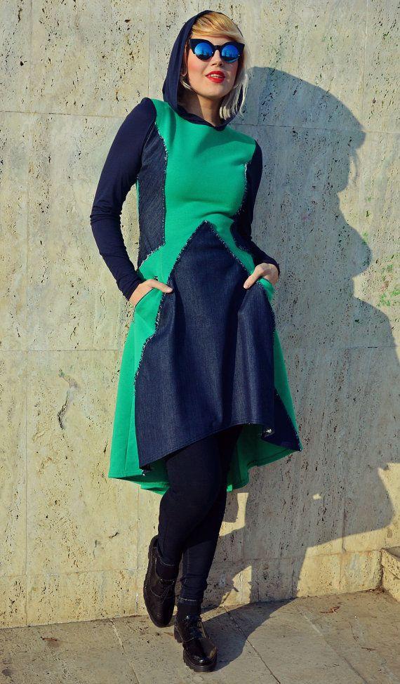 Extravagant Emerald Dress with Denim Inset / Emerald by Teyxo