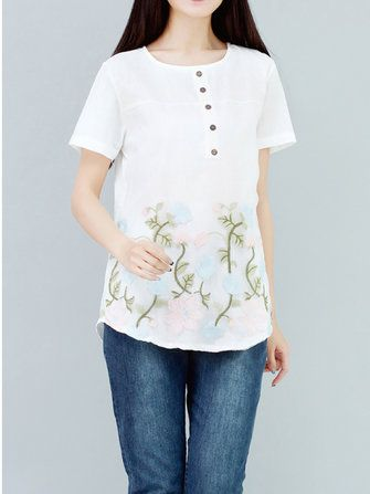 Casual Women Short Sleeve Button Embroidery Cotton Linen T-shirt at Banggood