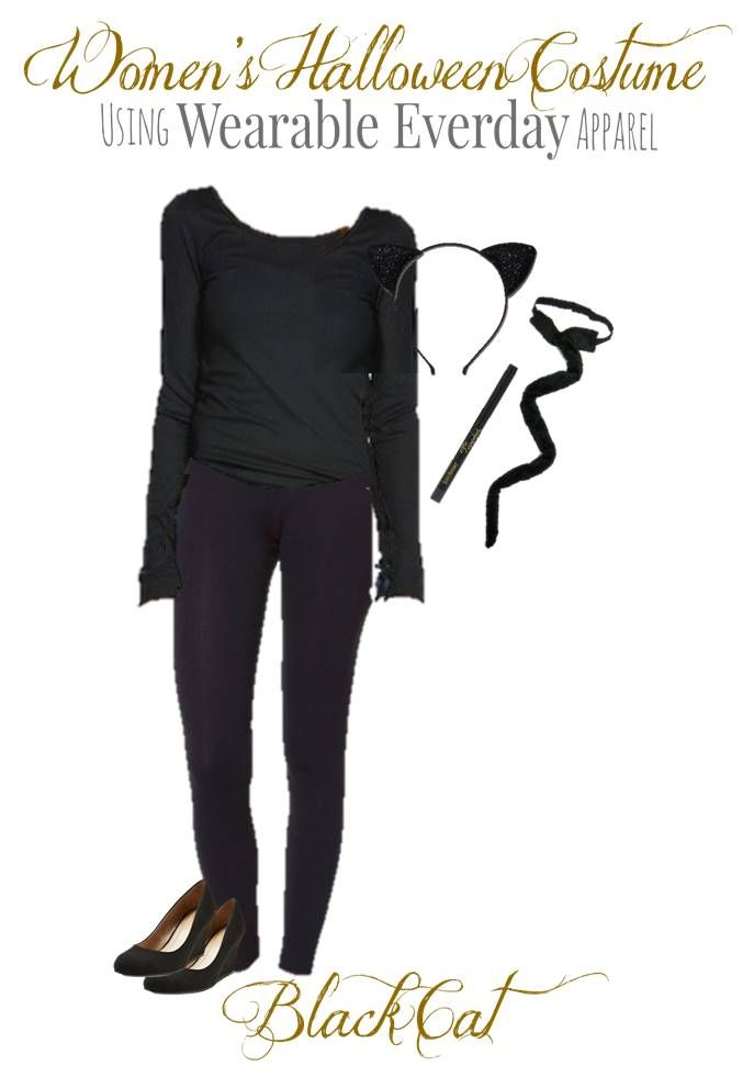 Wearable Halloween Costume - Black Cat Find a DIY costume in your own closet- saving you money!