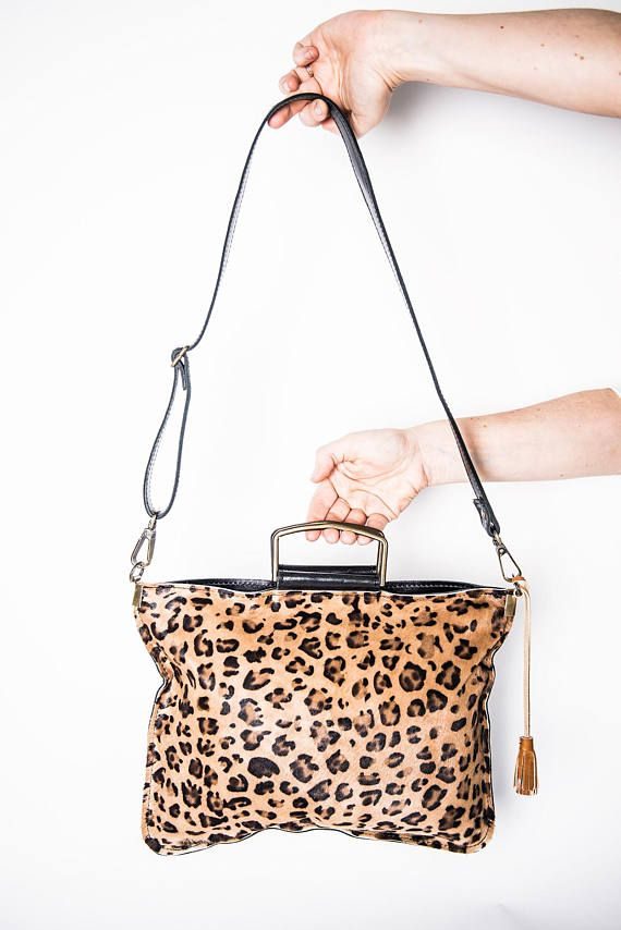 Animal print leather bag crossbody pockets crossbody medium