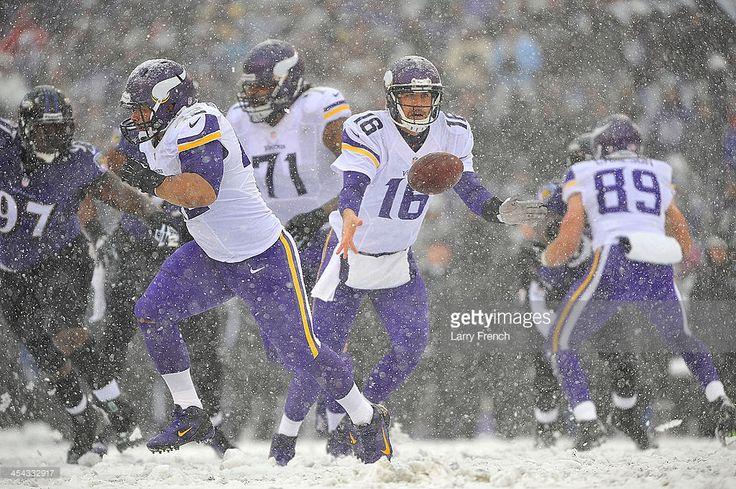 Quarterback Matt Cassel #16 of the Minnesota Vikings hands off during the game against the Baltimore Ravens at M&T Bank Stadium on December 8, 2013 in Baltimore, Maryland. The Ravens defeated the Vikings 29-26.