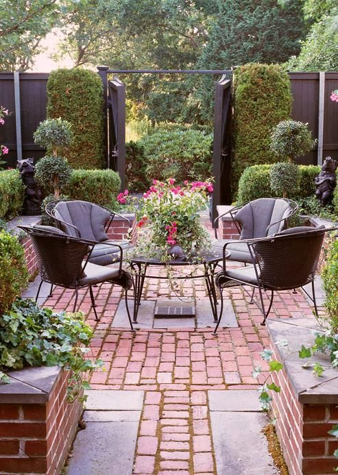 Paved #garden #backyardNice Courtyards, Outdoor Living,  Terraces, Gardens Spaces, Bricks Patios, Outdoor Room, Outdoor Spaces, Gardens Backyards, Bricks Courtyards