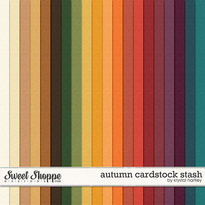 Autumn Cardstock Stash by Krystal Hartley solid fall shades digital papers perfect for scrapbooking projects.