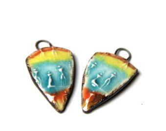Egyptische motieven - een paar van keramische hangertjes / druppels / Hangers - handgemaakte sieraden onderdelen