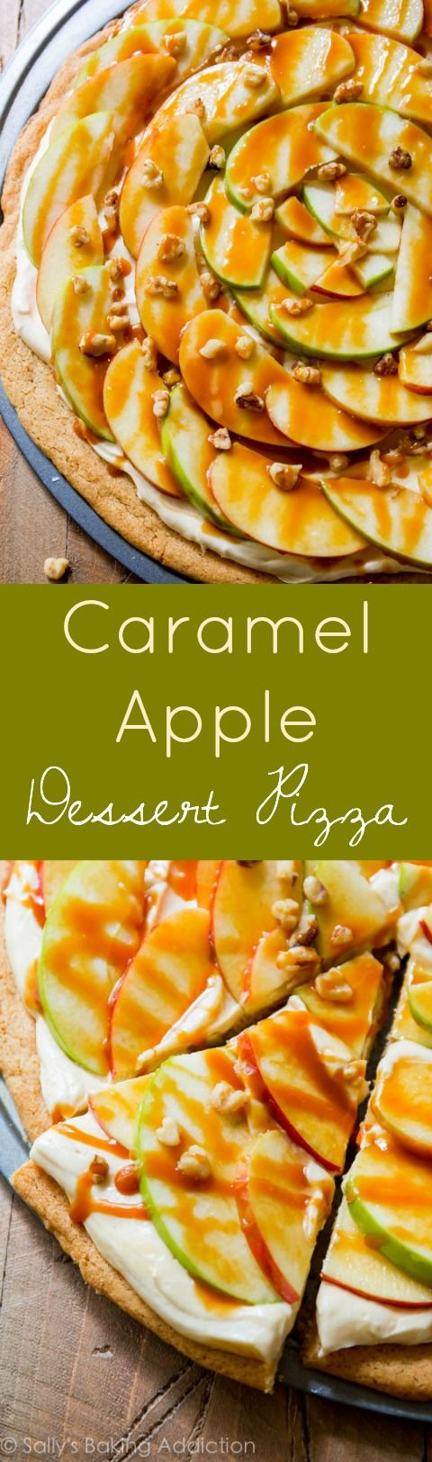 Caramel Apple Dessert Pizza is incredible! Complete with a snickerdoodle cookie crust and caramel cream cheese frosting!
