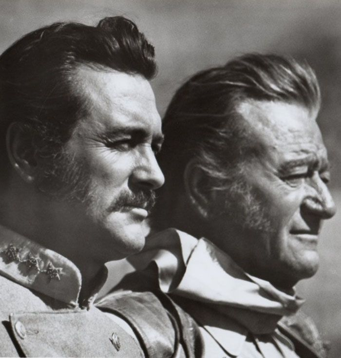 "John Wayne y Rock Hudson en ""Los Indestructibles"" (The Undefeated), 1969"