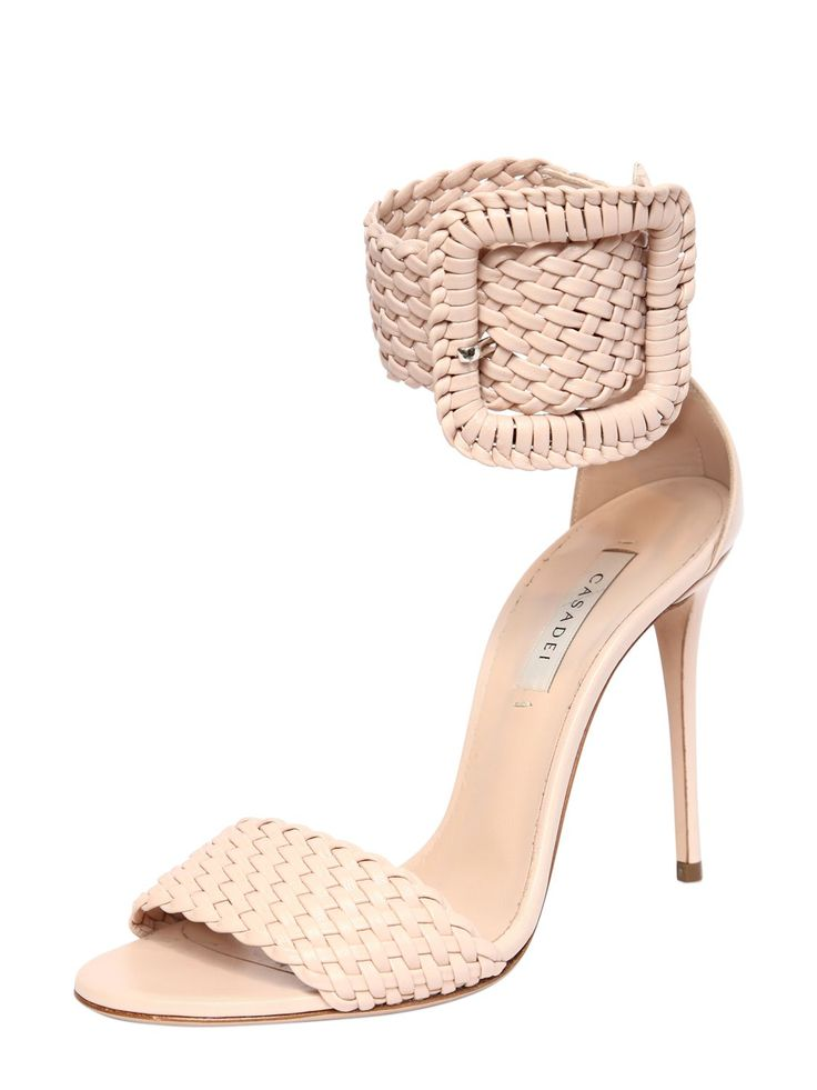 CASADEI - 100MM BUCKLED WOVEN LEATHER SANDALS - SANDALS - BLUSH -  Luisaviaroma