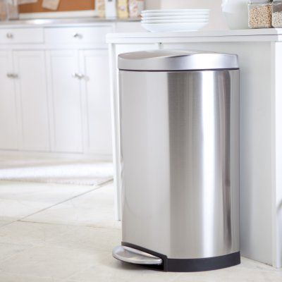 simplehuman® Semi-Round Step Trash Can-Brushed Stainless Steel - CW1825