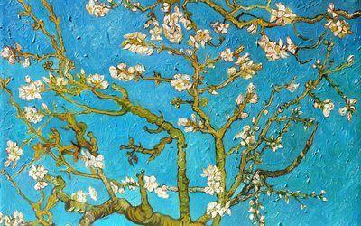 Scarica sfondi 1890, amandelbloesem, post-impressionista olandese artista, tela, olio