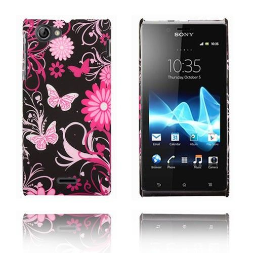 Flower Power (Rosa Sommerfugler) Sony Xperia J Etui