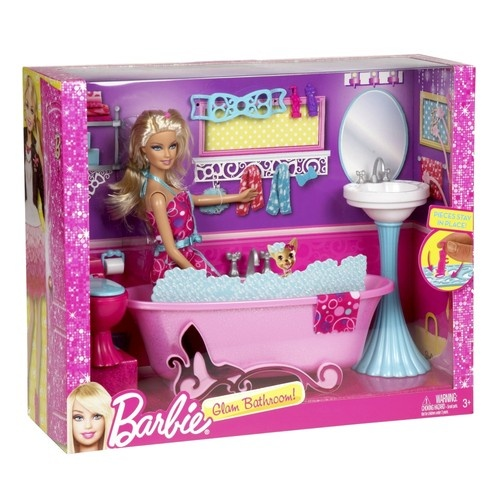 barbie glam bathroom furniture and doll set bathtub sink toilet doll outfit doll outfits. Black Bedroom Furniture Sets. Home Design Ideas