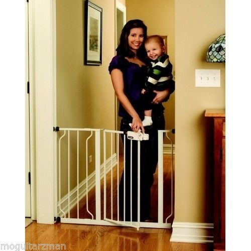 Easy Walk Step Thru Pressure Mounted Secure Pet Baby Toddler Safety Gate White #babygate  #safetygate