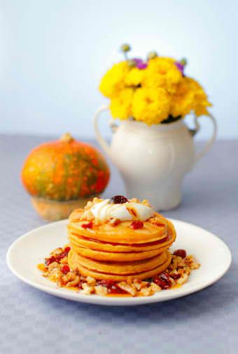 Healthy Pancake Varieties - Four different recipes (Pumpkin, Peanut butter, Whole wheat and Oatmeal)