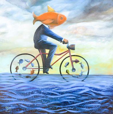 Tipo de Obra: pintura em acrílica sobre painel / Autor: Carlinhos Müller / Ano: 2015 / Série: Submerso / Título: Ciclo Fish / Descrição: Cada vez mais precisamos de transporte alternativo. / Tiragem: 50