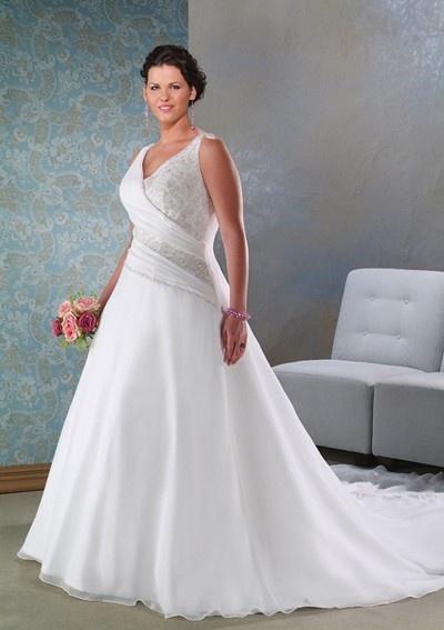 Elegant Chiffon A Line Plus Size Bridal Wedding Dress