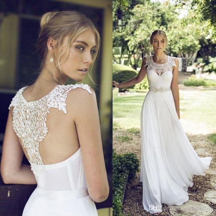 Cheap 2015 bohemia beach wedding dresses sheer lace high for Wedding dresses in louisiana