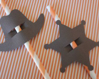 Cowboy Party Straw Toppers, Cowboy Hat and Sheriff Badge, Set of 15