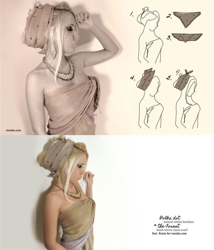 Ways to Wear Head Scarf -  [1] pull your hair up and secure it with a smaller hair clip (don't use anything flashy, try a color similar to your hair); [2] fold the bandana, or smaller scarf in a shape of a triangle [3] fold it again along the length to get desired width; [4] then, position a bandana with the ends on top of your head and [5] tie a knot, rotate and move the knot into a desired position. I didn't tuck in any lose ends of the fabric as I was going for a  messy look. #Rannka