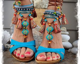 Pocahontas BAREFOOT Sandals Tribal Tassel Fringe sandal colorful Photoshoot props Native foot jewelry Bohemian Beach Woodland Wedding GPyoga