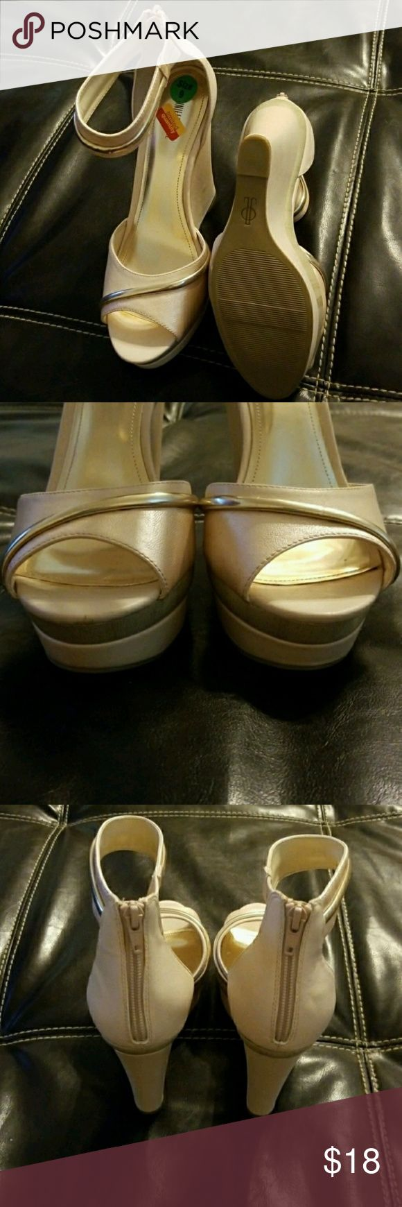 Jennifer Lopez Women's Wedge 👑Never used👑 Limited edition-Ivory pink and silver wedges with ankle zip ups Jennifer Lopez Shoes