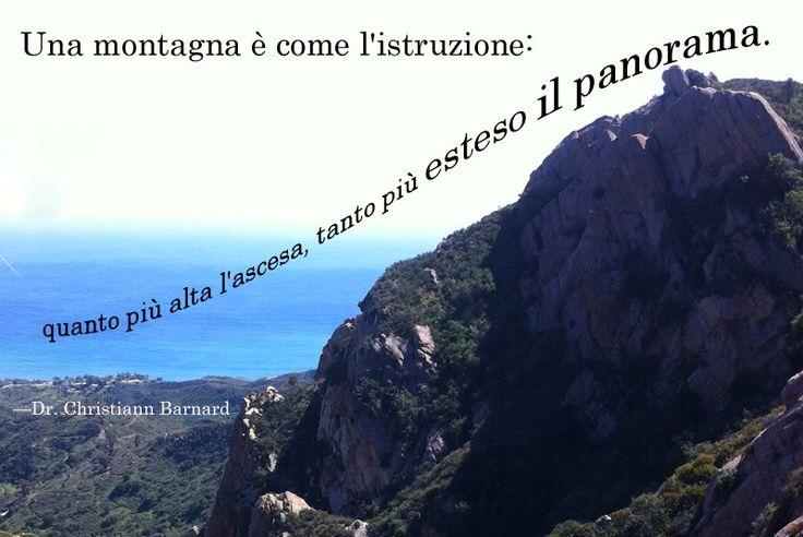 """""""Una montagna è come l'istruzione, quanto più alta l'ascesa, tanto più esteso il panorama"""" quote by Dr. Christiaan Barnard by Alex for didattichiamo.blogspot.com"""
