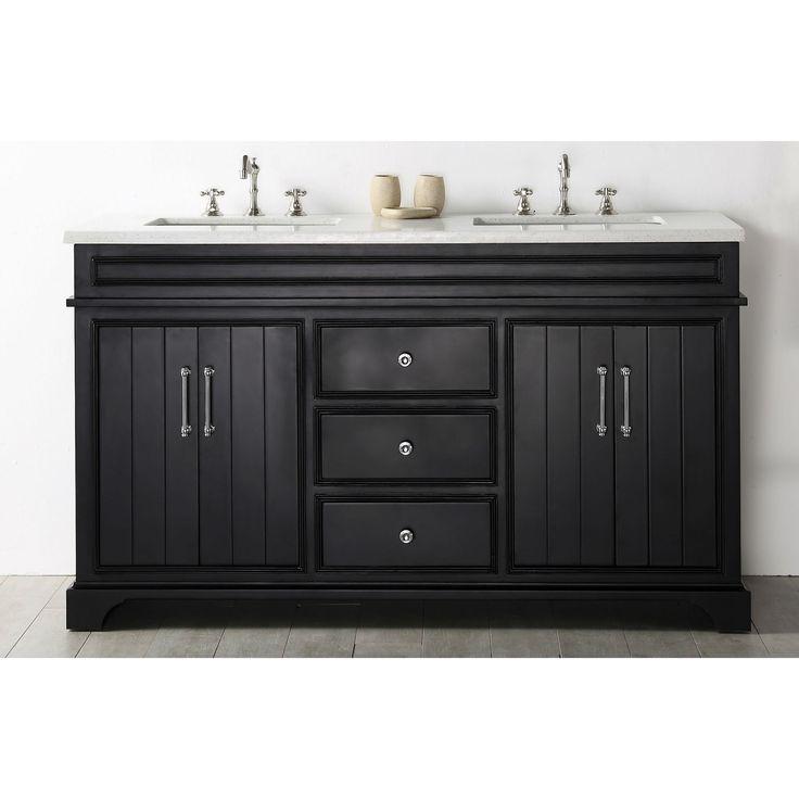 Legion Furniture Espresso Wood 60-inch Vanity with Quartz Top and No Faucet