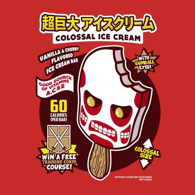 COLOSSAL ICE CREAM T-Shirt $12 Attack on Titan tee at Weekly Shirts!