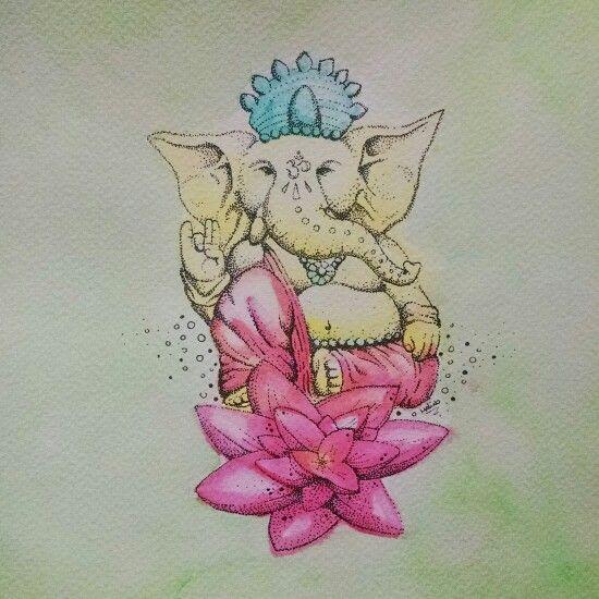 Ganesha (dotwork and watercolor)