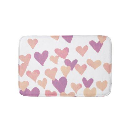 Valentines Day Watercolor Hearts  pastel pink Bath Mat - valentines day gifts love couple diy personalize for her for him girlfriend boyfriend