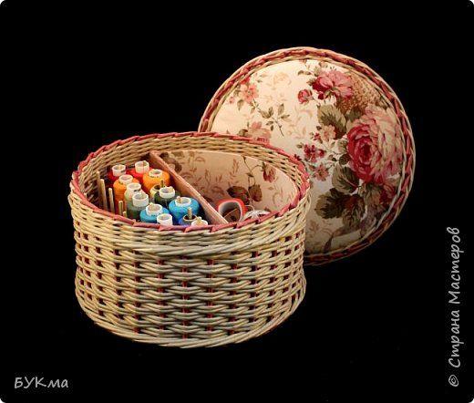 Поделка изделие Картонаж Плетение Комбинированные шатулки Картон Ткань Трубочки бумажные фото 1