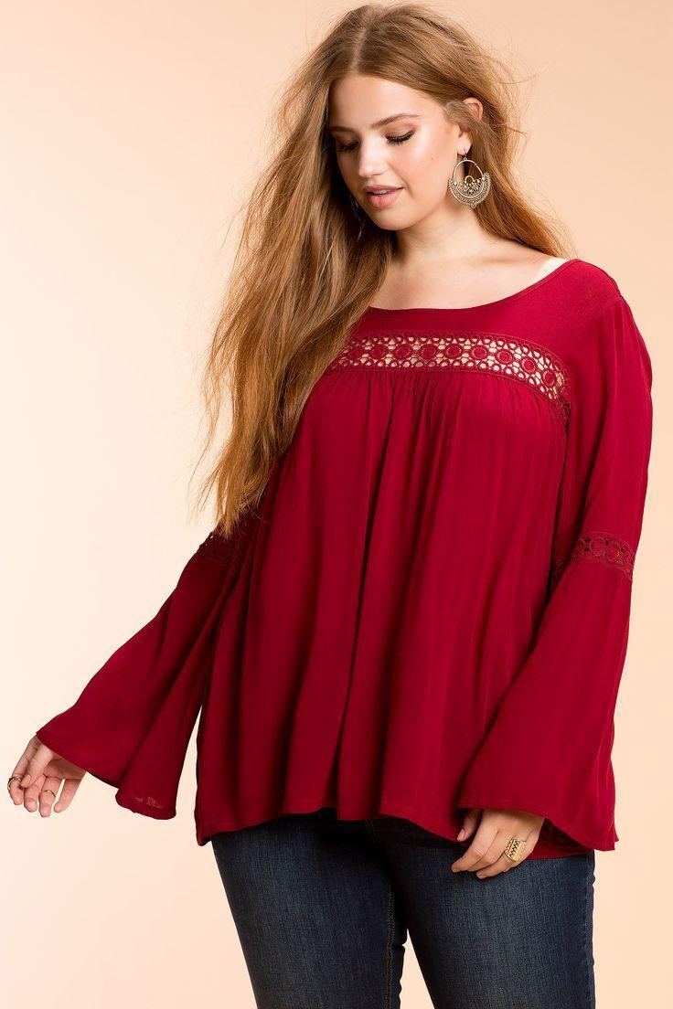 Plus Size Crochet Trim Blouse