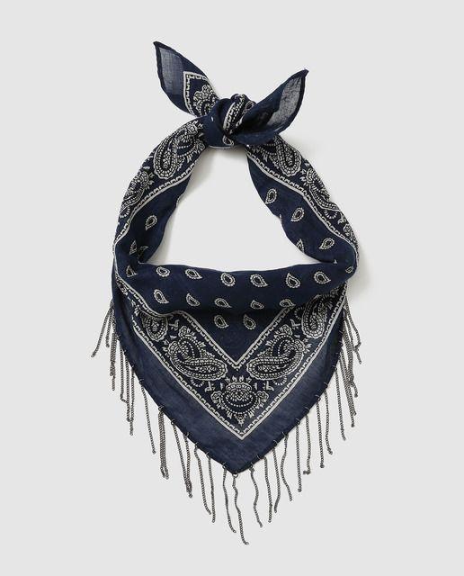 Bandana de niña Brotes con colgantes azul marino  116bb86f182