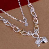 Оптовая продажа! Бесплатная доставка посеребренные ожерелья, Мода серебряные ювелирные изделия, Вставки в форме сердца блокировка ожерелье SMTN212