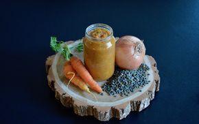 Recette de petit pot de purée / mouliné de lentilles carottes et oignon pour bébé (Dès 8 mois)