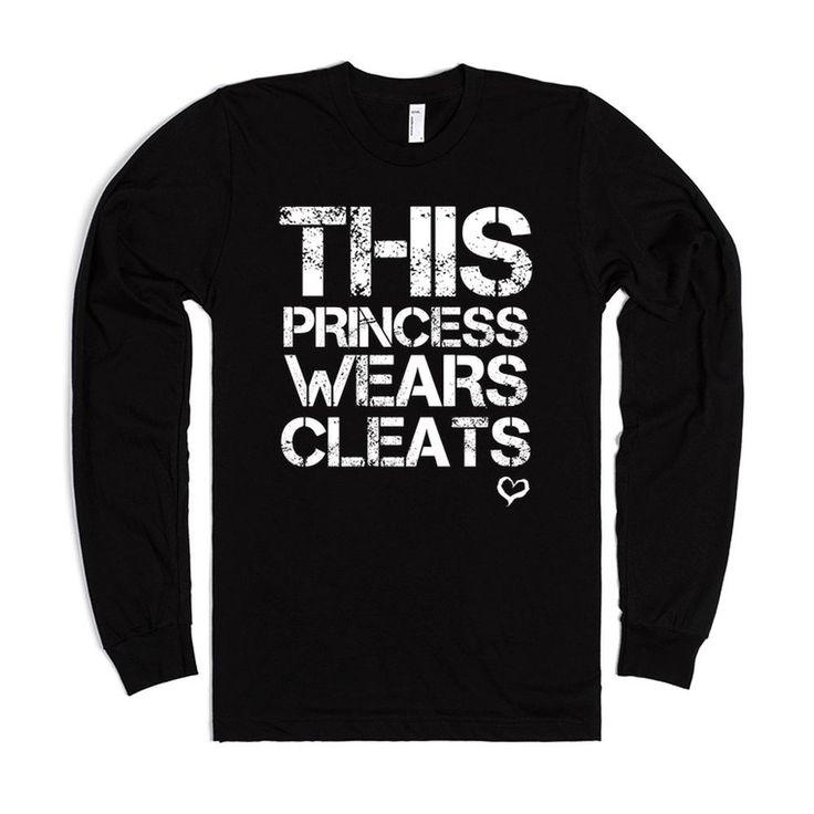 This Princess Wears Soccer Softball Cleats Black Long Sleeve Tee Ts...