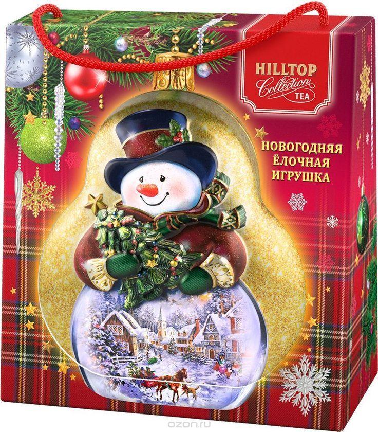 """Купить Hilltop Елочная игрушка """"Снеговик"""" Земляника со сливками ароматизированный листовой чай, 50 г (в футляре) в интернет-магазине OZON.ru"""